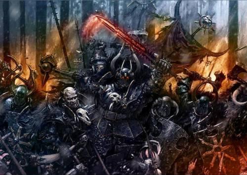 Воины Хаоса во главе с чемпионом проламывают имперский строй